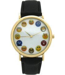 emoji leather strap watch