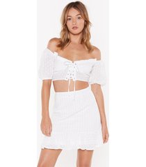 womens are you on broderie off-the-shoulder crop top - white