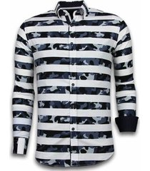 overhemd lange mouw tony backer blouse big stripe camouflage pattern