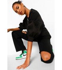 sweater met contrasterende mouwen, black