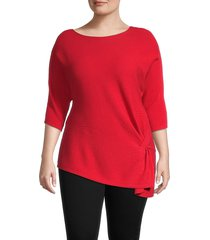 vince camuto women's plus textured cotton-blend top - rhubarb - size 2x (18-20)