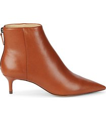 point-toe leather booties
