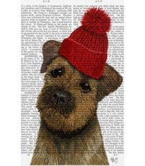 "fab funky border terrier with red bobble hat canvas art - 19.5"" x 26"""