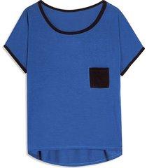 camiseta mujer con bolsillo color azul, talla 10