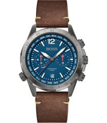 boss men's chronograph nomad brown leather strap watch 44mm