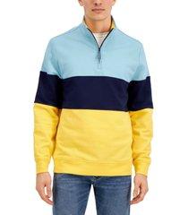 club room men's colorblocked 1/4-zip sweatshirt, created for macy's