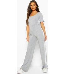 double side stripe short sleeve lounge jumpsuit, grey