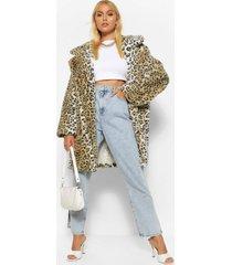 luipaardprint faux fur jas, bruin