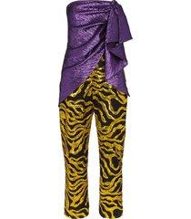 halpern multi-textured jumpsuit - purple