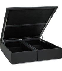 base cama box baú courino cinza casal 138x188x39 ortobom