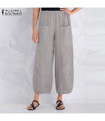 zanzea algodón de las mujeres a largo harem pantalones ocasionales anchas piernas pantalones floja de gran tamaño -gris