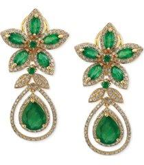 brasilica by effy emerald (5-1/4 ct. t.w.) and diamond (1-1/4 ct. t.w.) teardrop earrings in 14k gold, created for macy's