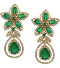 brasilica by effy emerald (5-1/4 ct. t.w.) and diamond (1-1/4 ct. t.w.) teardrop earrings in 14k gold, created for macy's