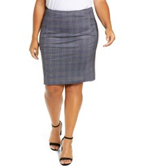 plus size women's liverpool reese high waist ponte knit skirt, size 24w - blue