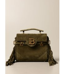 balmain handbag b-buzz balmain bag in suede with fringes and monogram