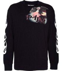 black flame eagle long sleeve t-shirt