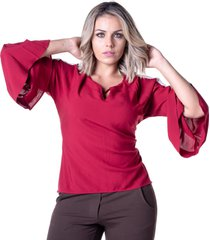 blusa em viscose meiruxa evas㪠marsala - vermelho - feminino - viscose - dafiti