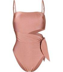 zimmermann freja scarf-tie bandeau swimsuit - pink