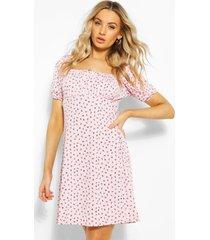 bloemenprint skater jurk met pofmouwen en vierkante hals, roze