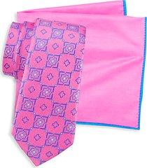 2-piece silk medallion-print tie & cotton & silk-blend tie pocket square set