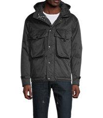 karl lagerfeld paris men's drawstring hooded jacket - black - size m