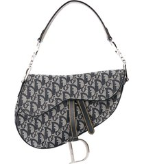 christian dior pre-owned trotter saddle tote - grey