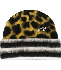 nº21 leopard-patterned beanie - yellow