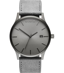 mvmt classic monochrome gray leather strap watch 45mm