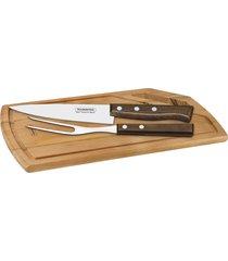 kit para churrasco tramontina em aço inox cabo de madeira natural com tábua de madeira 3 peças 22299046