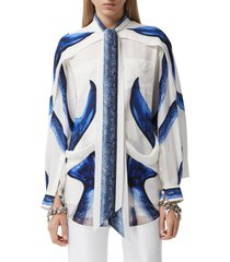 women's burberry mermaid tail cape silk blouse, size 12 - blue