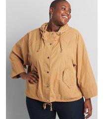 lane bryant women's hooded zip-front jacket 26/28 tan