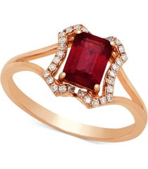 certified ruby (1-1/6 ct. t.w.) & diamond (1/8 ct. t.w.) ring in 14k rose gold