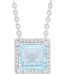 """blue topaz square 18"""" pendant necklace (2 ct. t.w.) in sterling silver"""