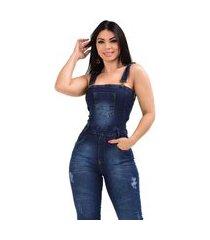 macacão jardineira jeans longa de alça regata - ewf jeans - estilo clássico - azul escuro