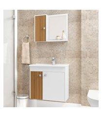 conjunto armário suspenso para banheiro bechara munique branco ripado