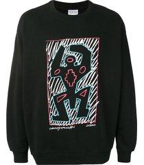 marcelo burlon county of milan cross man printed sweatshirt - black