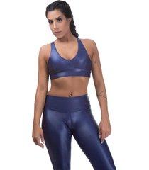 top esportivo  cirre miss blessed poliamida azul - tricae