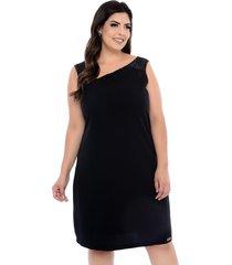 vestido forma rara plus size decote assimétrico preto-58