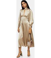 gold satin maxi dress - gold