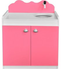 balcão de brinquedo criança feliz com pia infantil rosa/branco