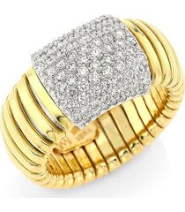 saks fifth avenue made in italy women's via bagutta 18k gold & diamond coiled rectangle ring - size 8