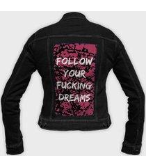 kurtka jeansowa damska follow your fucking dreams