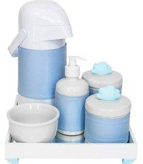 kit higiene espelho completo porcelanas, garrafa e capa nuvem azul quarto bebê menino