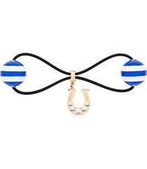 miu miu horseshoe and spheres hair tie - blue