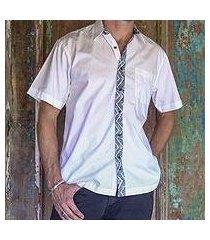 men's cotton batik shirt, 'blue waves' (indonesia)