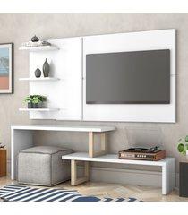 painel e rack para tv atreus branco natural casah - branco - dafiti
