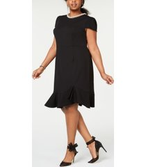 betsey johnson trendy plus size pearl-trimmed flounce-hem dress