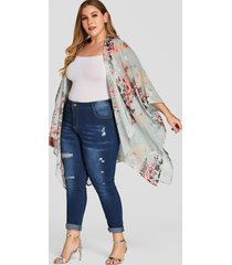 plus size green tropical print long sleeves kimono