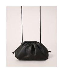 bolsa clutch franzida com alça transversal preta