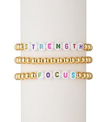 strength focus alphabet bead & 18k gold plated bracelet set